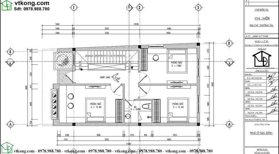 Mặt bằng công năng tầng 2 mẫu nhà ống 3 tầng hiện đại NP3T025