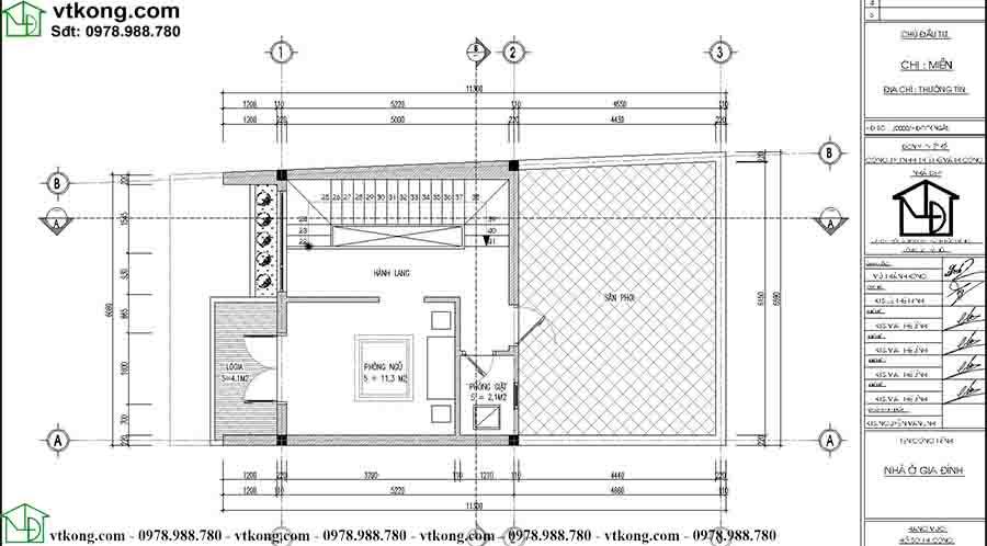 Mặt bằng công năng tầng 3 mẫu nhà ống 3 tầng 5 phòng ngủ NP3T025