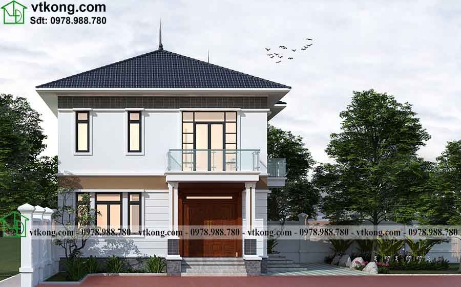 Phối cảnh 3D mẫu biệt thự 2 tầng mái nhật 9x9m BT2T70