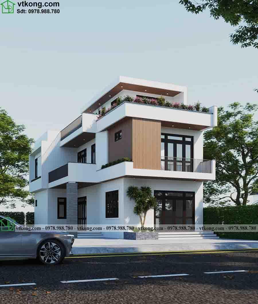 Phối cảnh 3D mẫu biệt thự phố 3 tầng 9x15m BT3T013