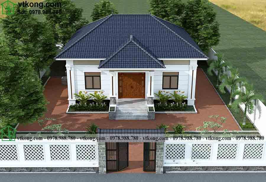 Phối cảnh 3D mẫu thiết kế nhà cấp 4 mái Nhật 11x11m NC4133