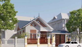 Mẫu thiết kế nhà cấp 4 mái thái 4 phòng ngủ 8x14m NC4130