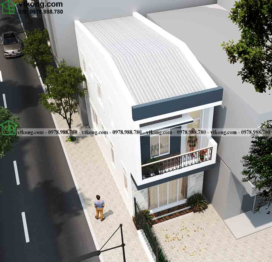 Phối cảnh từ trên cao của mẫu nhà phố 2 tầng 4x10m NP2T014