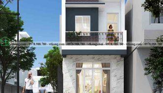 Mẫu nhà phố 2 tầng 4x10m đẹp mái bằng có tôn chống nóng NP2T014