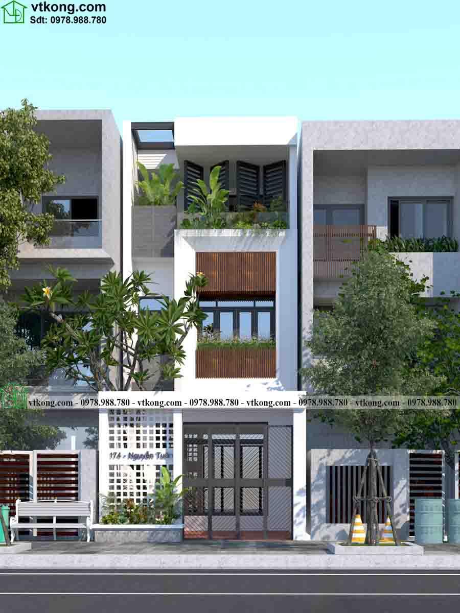 Phối cảnh mặt tiền của mẫu nhà phố 3 tầng 5x20m NP3T027