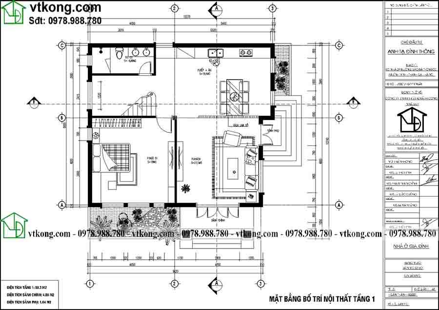 Công năng sử dụng tầng 1 của mẫu BT2T70