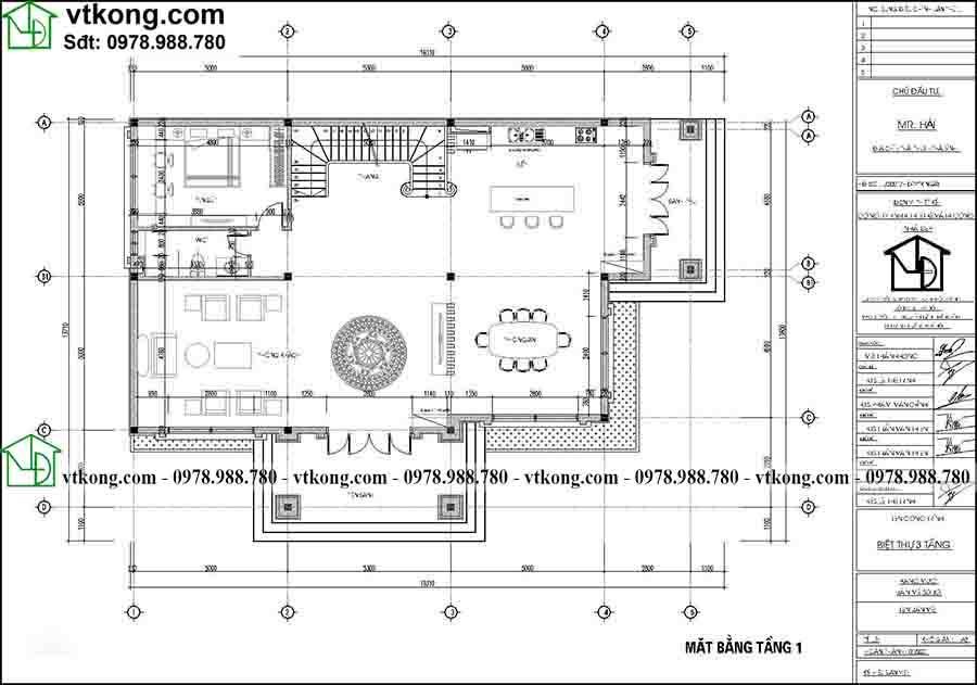 Công năng sử dụng tầng 1 của mẫu BT3T012