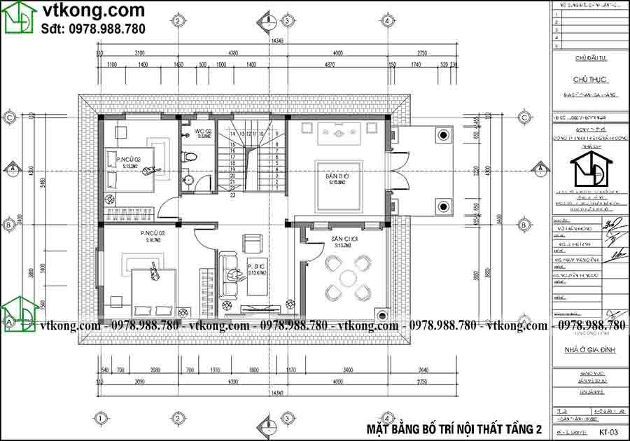 Mặt bằng công năng tầng 2 mẫu biệt thự tân cổ điển sang trọng BT2T69