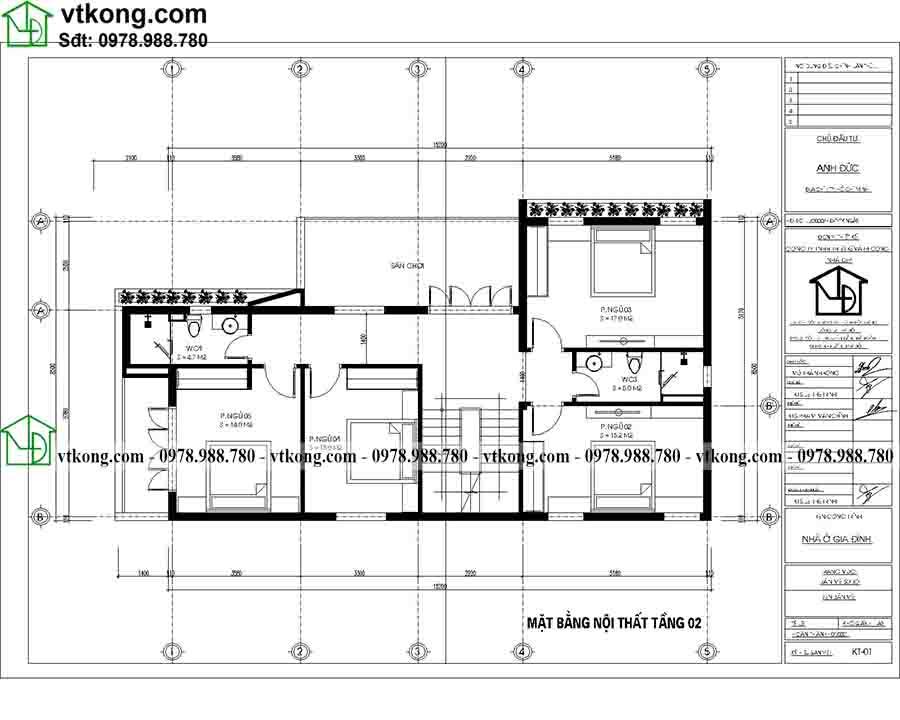 Công năng sử dụng tầng 2 của mẫu BT3T013