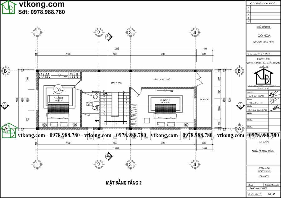 Công năng sử dụng tầng 2 của mẫu NP3T028