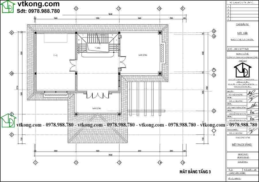 Công năng sử dụng tầng 3 của mẫu BT3T012