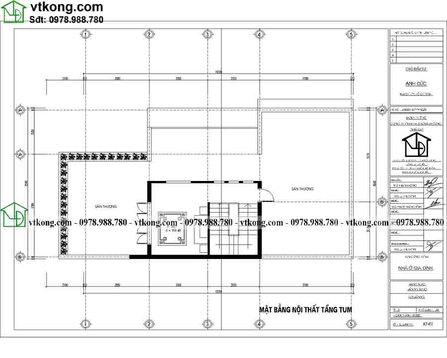 Công năng sử dụng tầng 3 của mẫu BT3T013