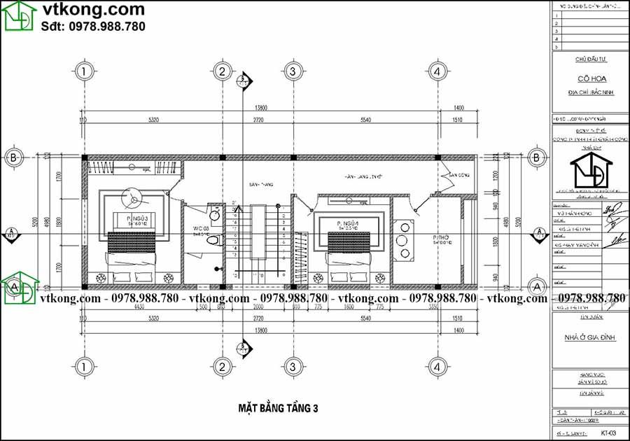 Công năng sử dụng tầng 3 của mẫu NP3T028