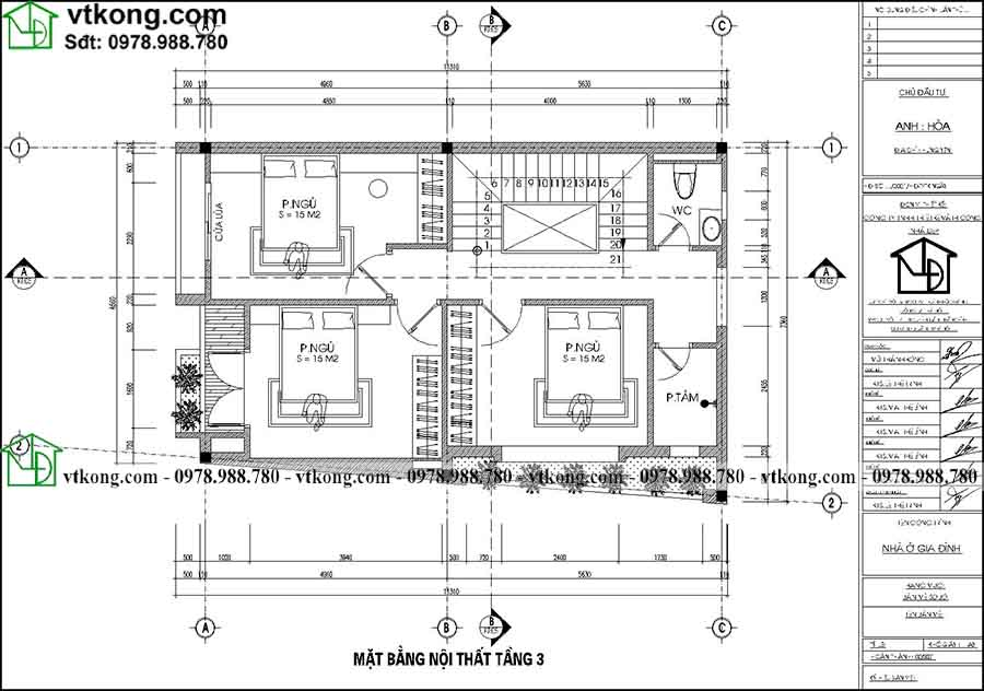 Công năng sử dụng tầng 3 của mẫu NP4T002
