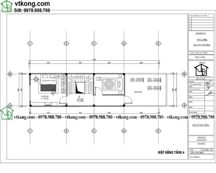 Công năng sử dụng tầng 4 của mẫu NP4T001