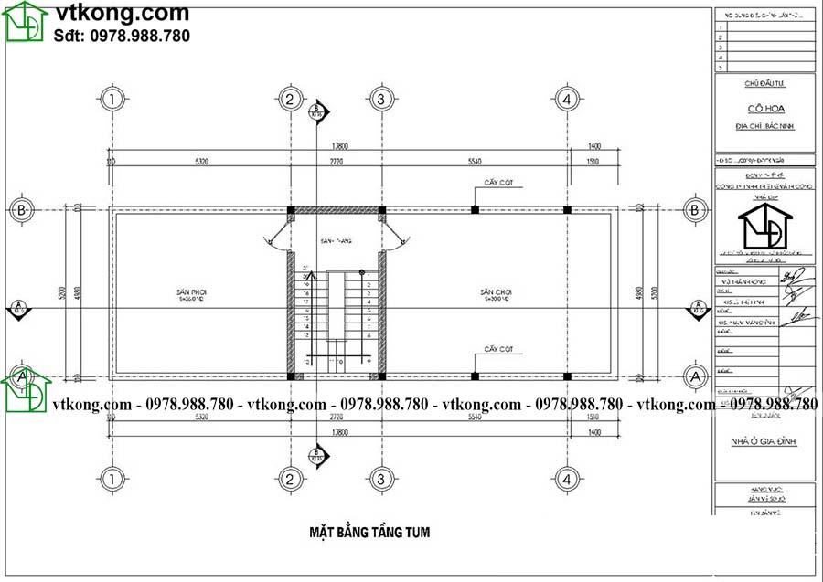 Công năng sử dụng tầng tum của mẫu NP3T028