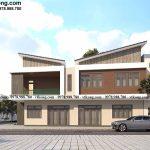 Mẫu thiết kế biệt thự 2 tầng hình thang vuông 7x15m đẹp tại Ninh Bình BT2T74