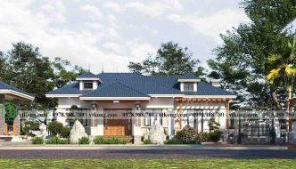 Biệt thự vườn 1 tầng 18x13m mái nhật 4 phòng ngủ siêu đẹp BT1T77