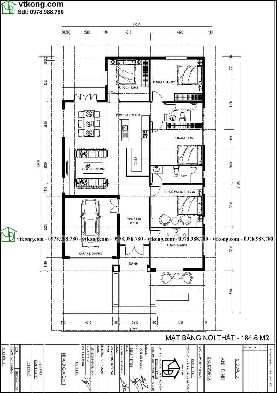 Mẫu nhà cấp 4 12x20m mái tôn đẹp giá rẻ ở nông thôn NC4136