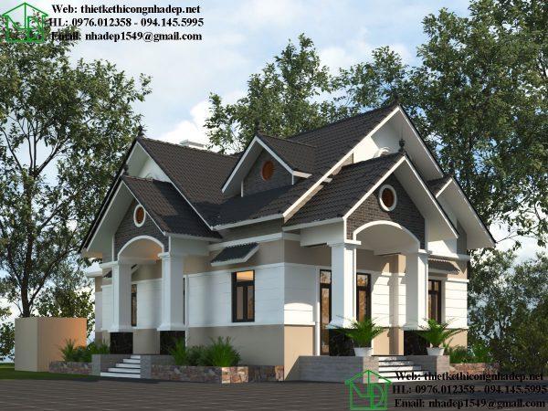 Mẫu thiết kế nhà cấp bốn mái bằng NC413