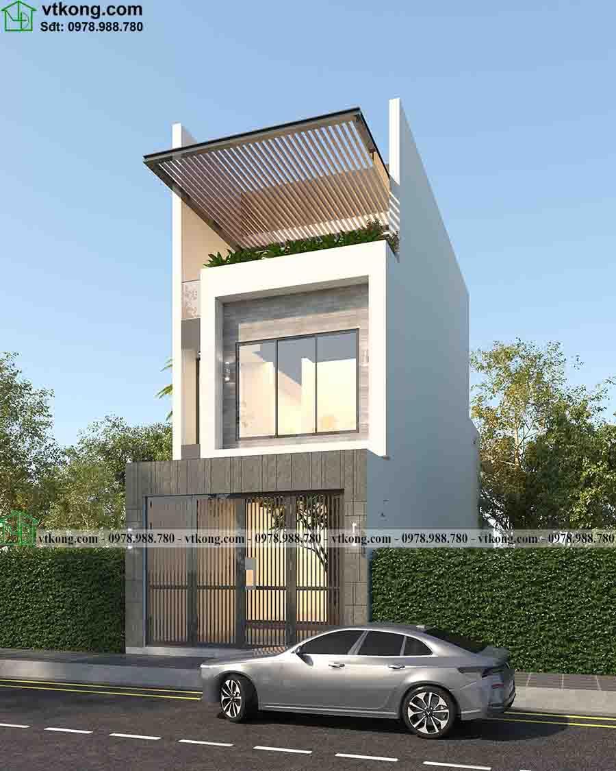 Mẫu Nhà Phố 3 Tầng Mái Bằng 5x24m Tại Quảng Ninh Np3t029