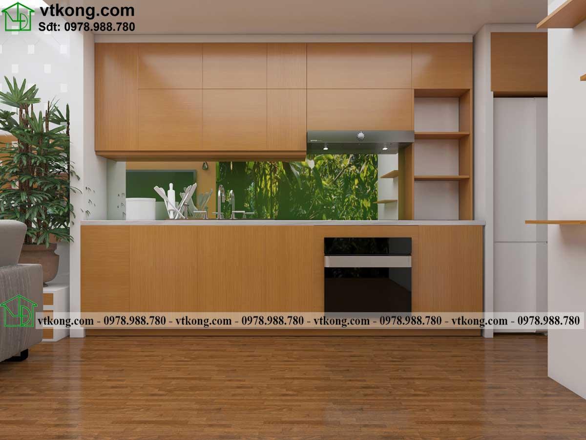 Thiết kế tủ bếp nhà cấp 4 gác lửng đẹp nc445