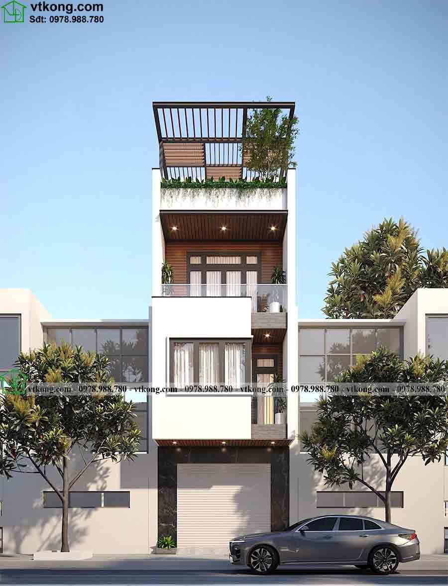 Hình ảnh 3D của mẫu nhà phố 4 tầng 4x14m NP4T004