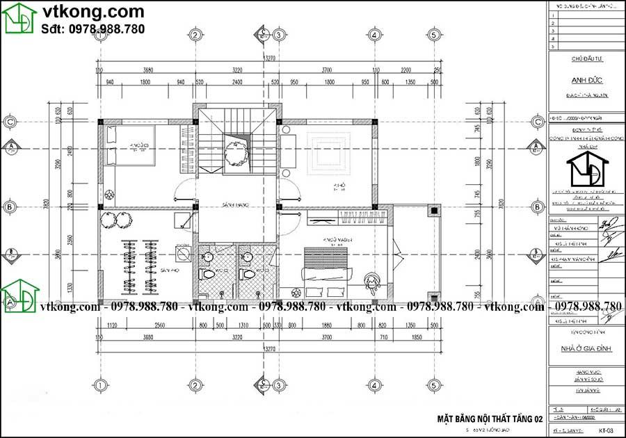 Thiết Kế Biệt Thự 2 Tầng 7x11m Có 3 Phòng Ngủ Ndbt