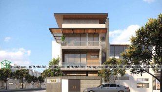 Thiết Kế Biệt Thự 3 Tầng Mái Bằng 10x14m Tại Bắc Ninh Bt3t021